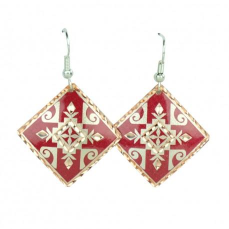 Boucles d'oreilles carrées rouges en cuivre Zana