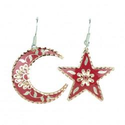 Boucles d'oreilles étoile et lune Nassimeh rouges