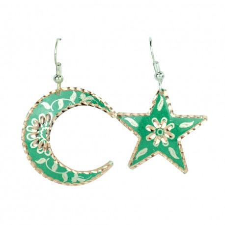 Boucles d'oreilles asymétriques en étoile et en lune Nassimeh vertes