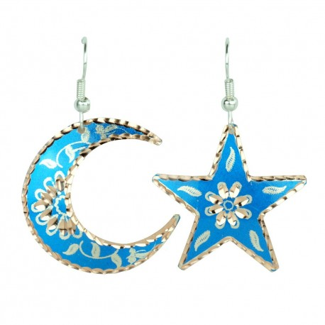 Boucles d'oreilles en lune et en étoile bleues Nassimeh