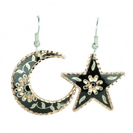 Boucles d'oreilles fantaisie en étoile et lune noires Nassimeh