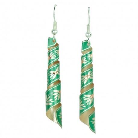 Boucles d'oreilles en spirale vertes Emna, design ethnique