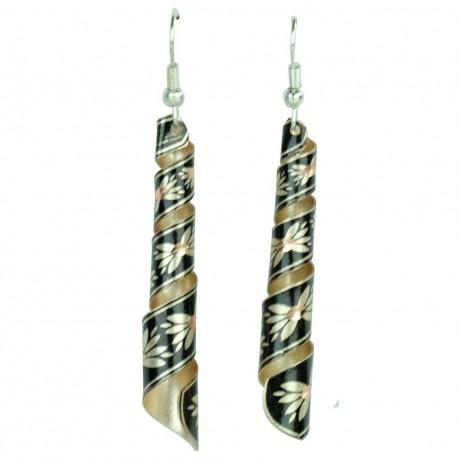 Boucles d'oreille noires en tortillon Emna, un cadeau artisanal par KaravaneSerail