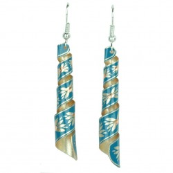 Boucles d'oreille spirale turquoises Emna, design tribal