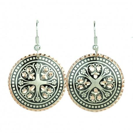 Boucles d'oreilles rondes noires et argent Atoosha, design ethnique