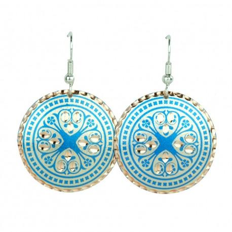 Boucles d'oreilles orientales bleues rondes Atoosha