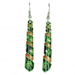 Bijoux orientaux, Boucles d'oreilles Emna vertes et noires