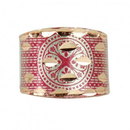 Cadeau artisanal, Bague artisanale en cuivre Kasra rouge design oriental
