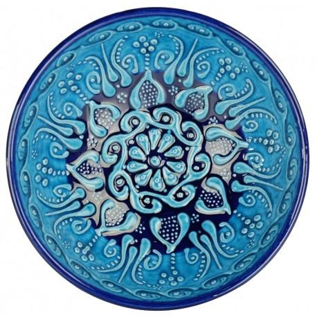 Bols turquoises Tolga 15cm en céramique décorée de motifs fleuris orientaux