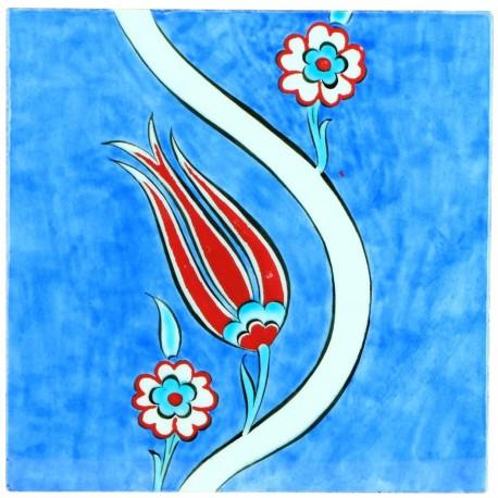 Carreau décoratif Ourkadi 20x20 avec motifs floraux ottomans