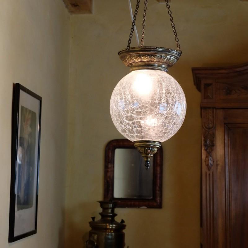 luminaire artisanal r shep en verre craquel et laiton. Black Bedroom Furniture Sets. Home Design Ideas