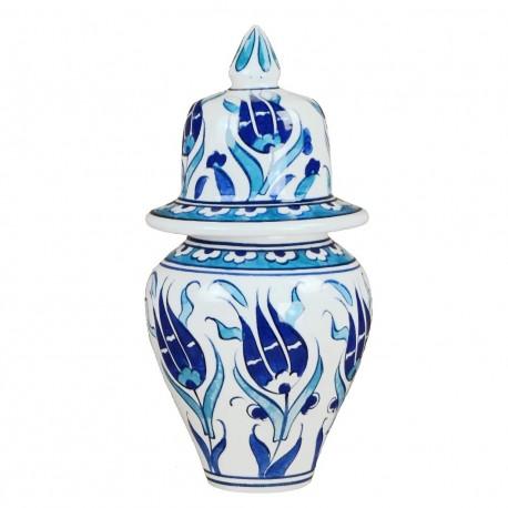 Cadeau déco, pot bleu Necla 15cm de fleurs
