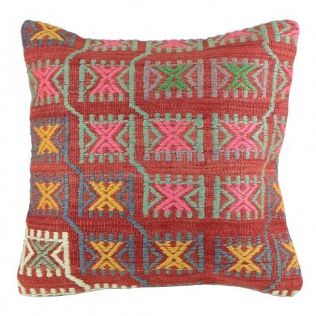Housse de coussin Kolon B010 en kilim décoratif rouge pastel
