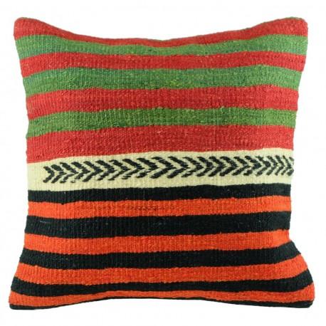 Coussin kilim ethnique rouge, vert et noir Kolon B027