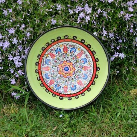 Saladier décoratif vert citron Timur 25cm en faïence artisanale