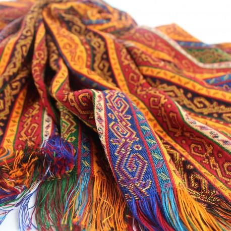 Tissu ethnique coloré Batys 1m40, utilisable en couverture de table, tenture...