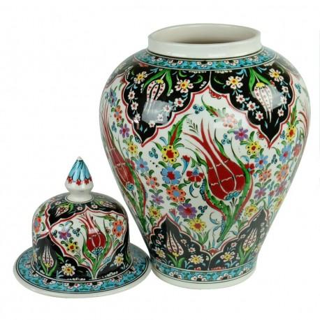 Jarre décorative artisanale Tourada 40cm avec motifs floraux (céramique ottomane Iznik)