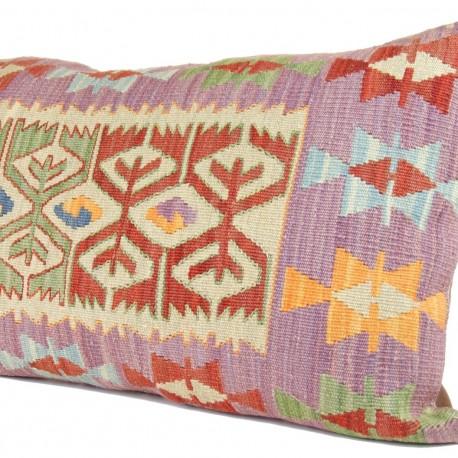 Grand coussin artisanal violet en kilim Tyana