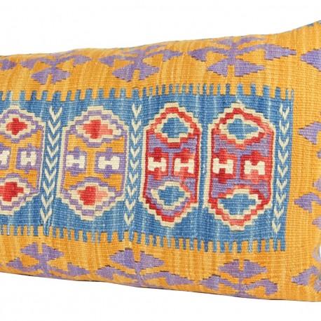 Coussin coloré décoratif jaune et bleu Comana
