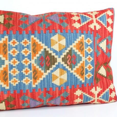 Coussin en laine, kilim rouge 100x60 Eumenia par KaravaneSerail