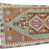 Grand coussin décoratif en kilim marron et vert 100x60 Sinope