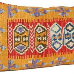 Grand coussin ethnique Comana, Kilim Rouge et Orange