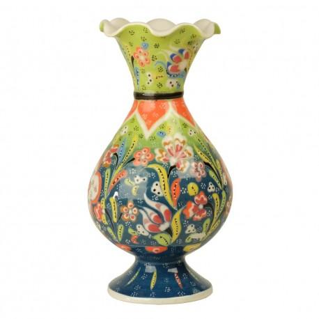 Vase coloré Alis vert 20cm, céramique au design original