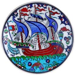 Assiette orientale ottomane Kalyon 18cm avec bateau (céramique de style Iznik Classic)