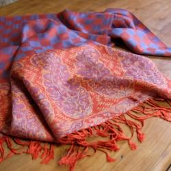 Foulard ethnique rouge et bleu Hayal