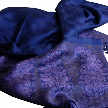 Pashmina étole ethnique bleu nuit Hayal