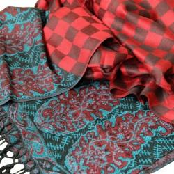 Châle pashmina Hayal rouge et noir