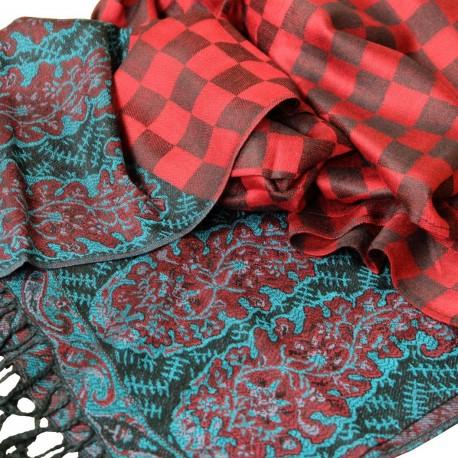 Châle Pashmina Hayal rouge et noir style bohème oriental