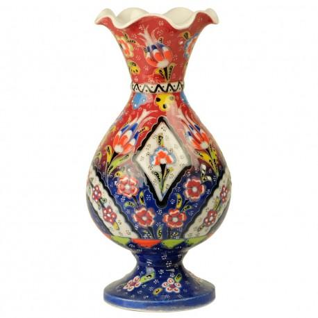 Vase ethnique artisanal Alis bleu et rouge 20cm