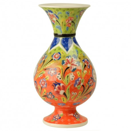 Vase multicolore fait main Alis 20cm orange et vert