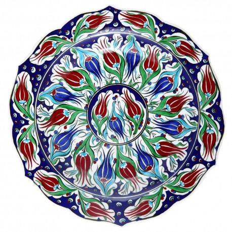 Assiettte turque fleurie en céramique d'Iznik Lalé 30cm, avec tulipes
