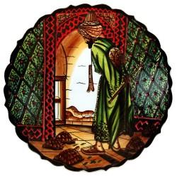Plat décoratif oriental ottoman Kaplum Vert 30cm avec personnage dresseur de tortue