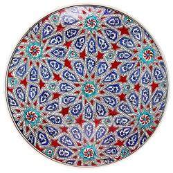 Vaisselle orientale, Plat en céramique Melis Rouge 30cm avec motifs géométrique