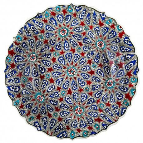 Coupe à fruits orientale Melis 40cm à bord chantourné avec motifs géométriques