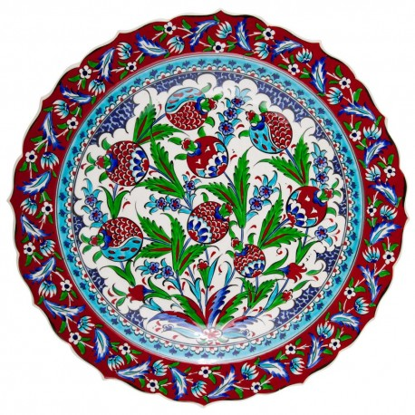 Plat décoratif Kayra 40cm à bord chantourné, Design ottoman Iznik