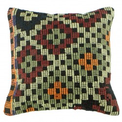 Coussin original en kilim de Turquie Kolon B044, travail artisanal