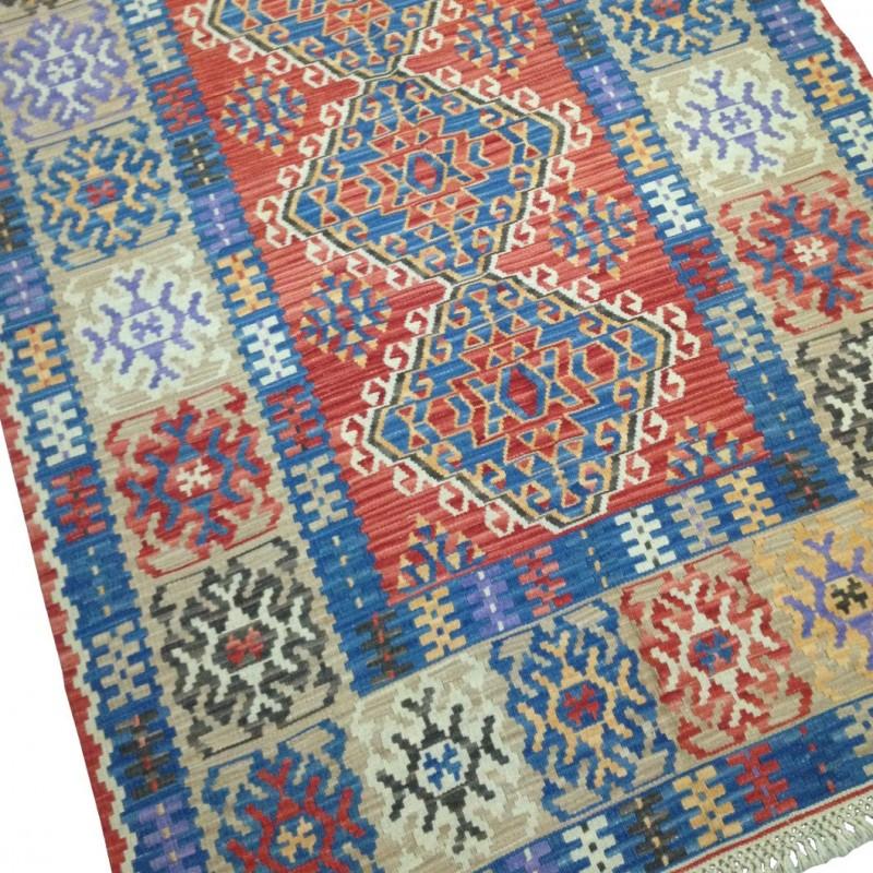 tapis kilim anatolien bleu et rouge k12. Black Bedroom Furniture Sets. Home Design Ideas