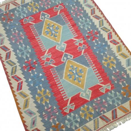 Tapis Oriental Bleu Pastel et Rouge, Kilim Turc Rectangulaire S23