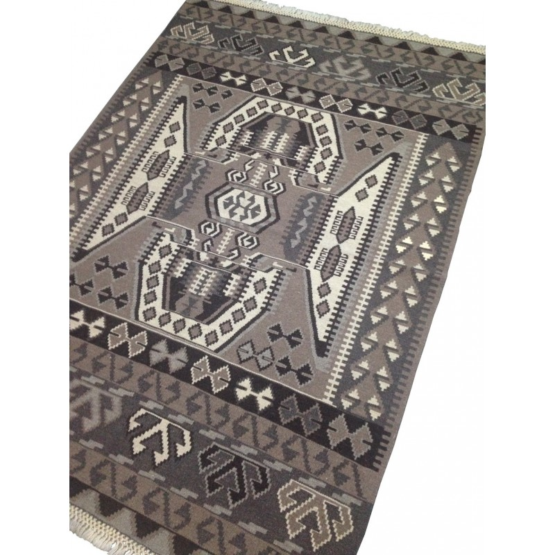 tapis kilim gris k16. Black Bedroom Furniture Sets. Home Design Ideas