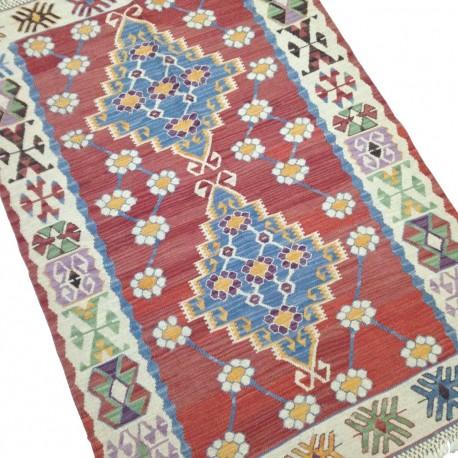 Tapis Vintage Rouge, Kilim Turc Göçmen S28 par KaravaneSerail