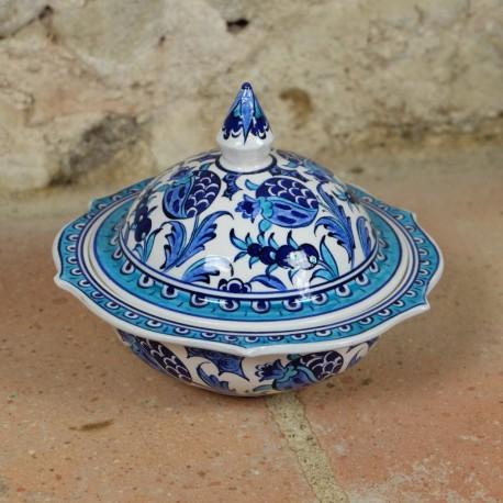 Sucrier oriental en céramique Necla, décoré de fleurs bleues