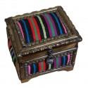 Boîte à bijoux en bois et kilim multicolore Krysios