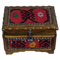 Belle boite en bois et kilim rouge Isios, cadeau déco par KaravaneSerail