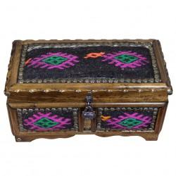 Grand Coffret à Bijoux Artisanal Décoré de Kilim Noir Ifios