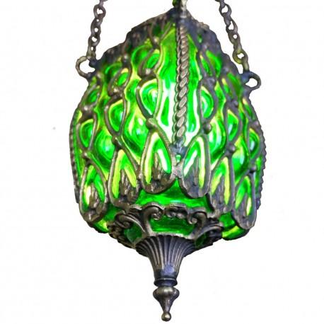 Suspension orientale verte Anzû en verre soufflé et laiton