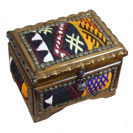 Grande boîte à bijoux décorée de kilim artisanal jaune et noir Isios